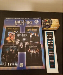 Harry Potter violin sheet music, chord placement sticker & tuner