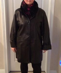 Black Leather Coat. Plus size 16