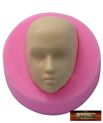 M00113 MOREZMORE Male Doll Head Face Man Boy Silicone Mold Clay Cake Soap A60