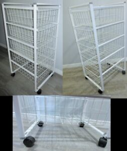 Storage RACK on Wheels with 5 Removable  BASKETS