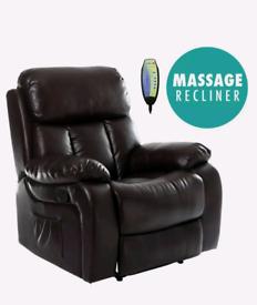 Dark brown Manual Recliner rocking swivel heat and massage Armchair