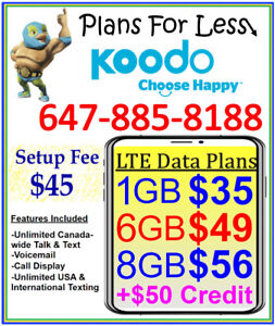 Koodo $56 8GB LTE Data UNLIMITED talk text plan + $50 BONUS