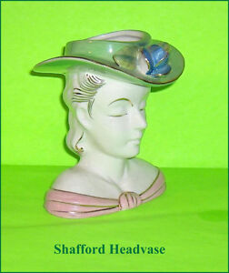 Head Vase Pretty Lady Flower Holder  Shafford Vintage Headvase
