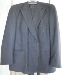Pierre Cardin pin stripe smokey grey double breasted wool