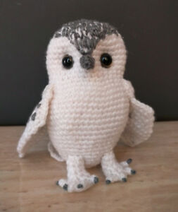 Crocheted white owl plushie inspired by Hedwig