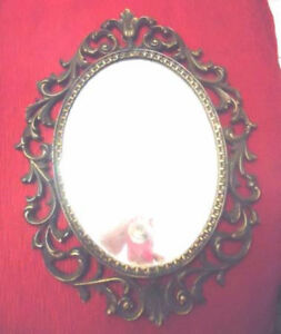 Small Antique Brass Oval Mirror - Ornate Frame