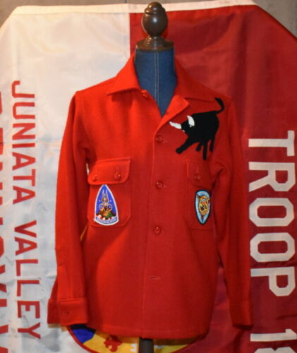 VINTAGE BOY SCOUT RED WOOL JACKET