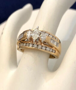 14k gold marquise cut diamond engagement ring*Appraised @ $3,950