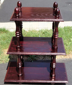 Solid wooden three tier cherry coloured bookcase shelving London Ontario image 3