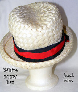 Vintage white Straw hat, lovely style, coloured band