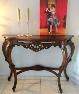 HAND CARVED WOODEN SIDEBOARD OR HALL TABLE