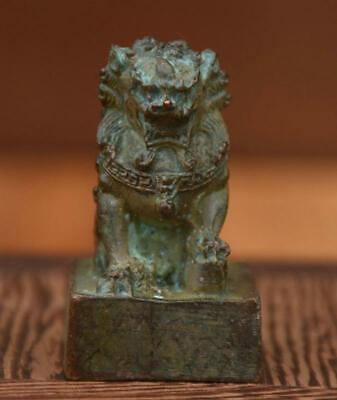 4.5CM Old China Dynasty Pure Bronze Fengshui Foo Fu Lion Seal Signet Stamper