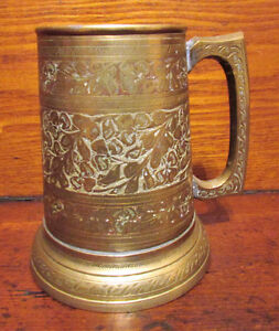 Antique Brass Etched / Engraved Tankard Stein with Glass Bottom