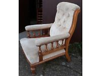 Edwardian Walnut Armchair Or Elbow Chair With Balustrade Arms And Later Button Back Upholstery