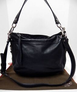 Authentic Coach Zoe Black Leather Hobo Purse