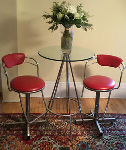 3 piece high-top chrome and glass bar table and stool set