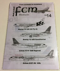 FCM Decals 1/144 Airbus A319 / A321 / Boeing 737 decal set