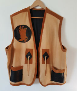 Moose hide Leather Vest (Colors-Tan/beige, brown, black)