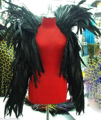 Da NeeNa JF Vegas Parade Dance Raven Coat Black Feather Jacket XS-XL