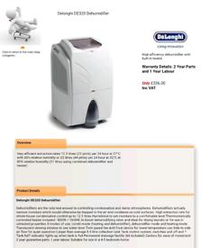 Delonghi DE320 Dehumidifier With Built in Heater
