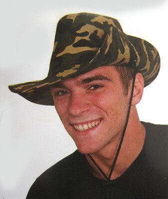 Camo Safari Hat Cotton Bush Outback Adult Costume Big Game Hunter