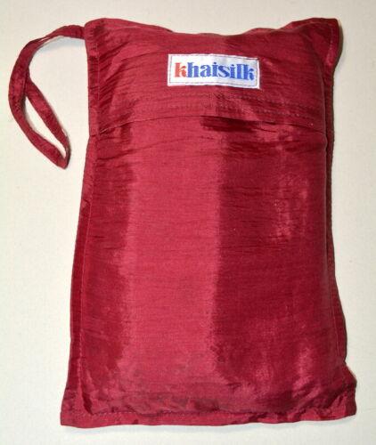 Khaisilk 100% Silk Sleeping Bag Liner Burgundy Red NEW