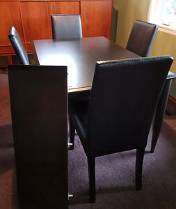 Black Wood Dining Set Table with Leaf & 4 High Back Chairs 90's