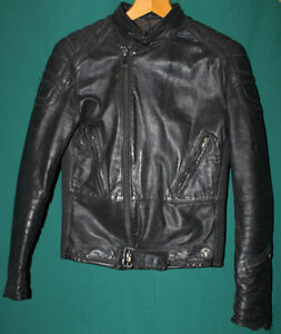 LEATHER MOTORCYCLE JACKET (Black / small)