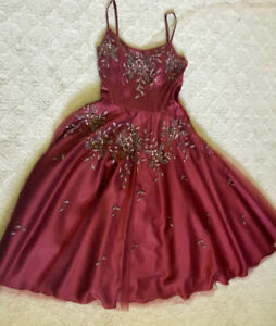 Prom / Wedding dress: Wine with intricate beading, tulle, XS-S