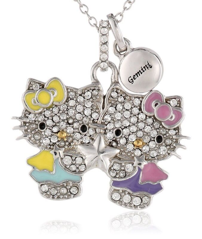 HELLO KITTY ZODIAC GEMINI Sterling Silver Pave Crystal Enamel Pendant Necklace