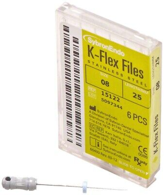 Kerr Sybron Endo Dental 25mm Stainless Steel K-flex File 6-file Per Box All Size