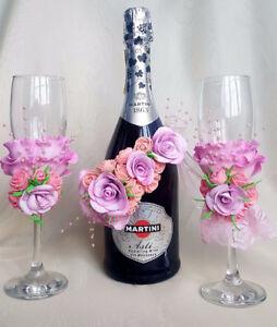 Handmade toasting flutes, bottle/candle decoration
