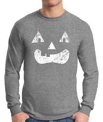 Men's Halloween Pumpkin  Long Sleeve T shirts Tops Shirts Lantern White Vintage](Vintage Halloween T Shirts)