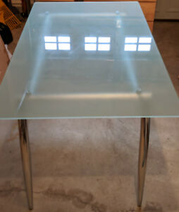 Rectangular Glass and Chrome Dining Table