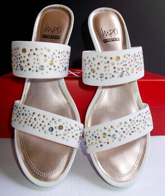IMPO Wedge Sandal Shoes Women's Size 8.5 M White Sparkles - Called VOW