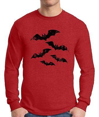 Halloween Long Sleeve T Shirts (Men's Halloween Bat  Long Sleeve T shirts Tops Shirts Halloween Bats)