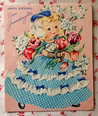 Vintage 1950s Birthday Card Cute Little Girl in Ruffled Dress & Feathered Hat