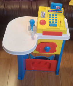Toy Cash Register & Toy Cart
