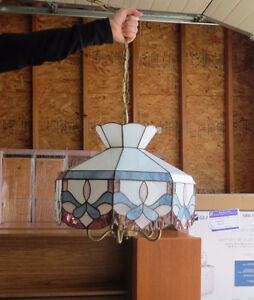 Two matching hanging stained glass swag lamps, each