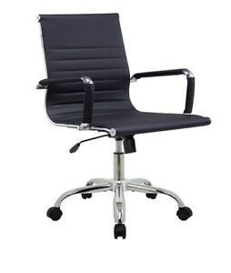 Modern Black & Chrome Office Chairs (4 total)