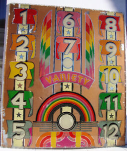 "Bally Pinball Machine Backglass 'Variety"" 1939 - Model 348 -"