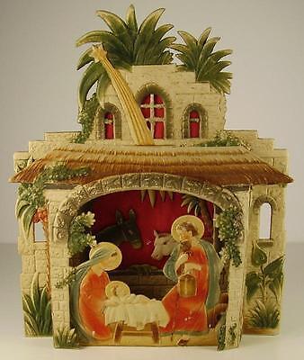 Antike schöne Weihnachts Krippe Pappe um 1920 (1)