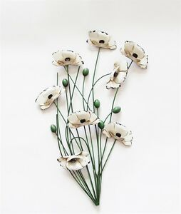 Metal Wall Art Decor Picture - Cream Poppy Bunch with Green Stems Poppies Flower