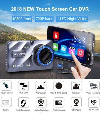 "Dual Lens 4"" Touch Screen Car DVR 1080P FHD Dash Cam Video Night Vision Camera"