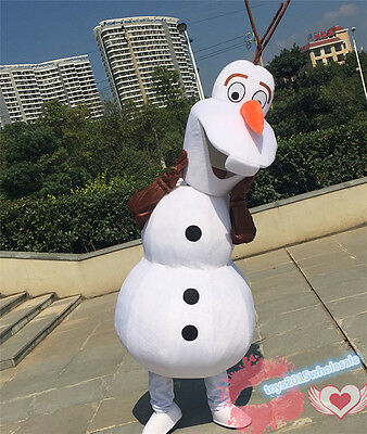 Olaf Snowman Mascot Costume Adult Party Outfit Fancy Dress Frozen Christmas Suit