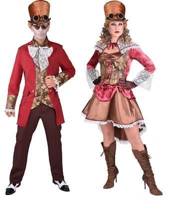 Burlesque Barock Rokoko Steampunk Halloween Damen Herren Kostüm Kleid Brille Hut ()