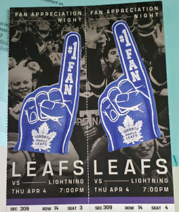 CENTRE ICE. MAPLE LEAFS VS LIGHTNING APRIL 4TH $400 FOR THE PAIR