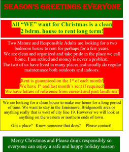 "All ""WE"" want for Christmas is a 2 bdrm. house to rent long term"