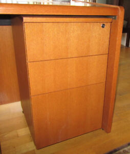 Small Solid Oak 3-Drawer Filing Cabinet on Casters