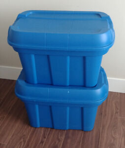 2 blue high top totes